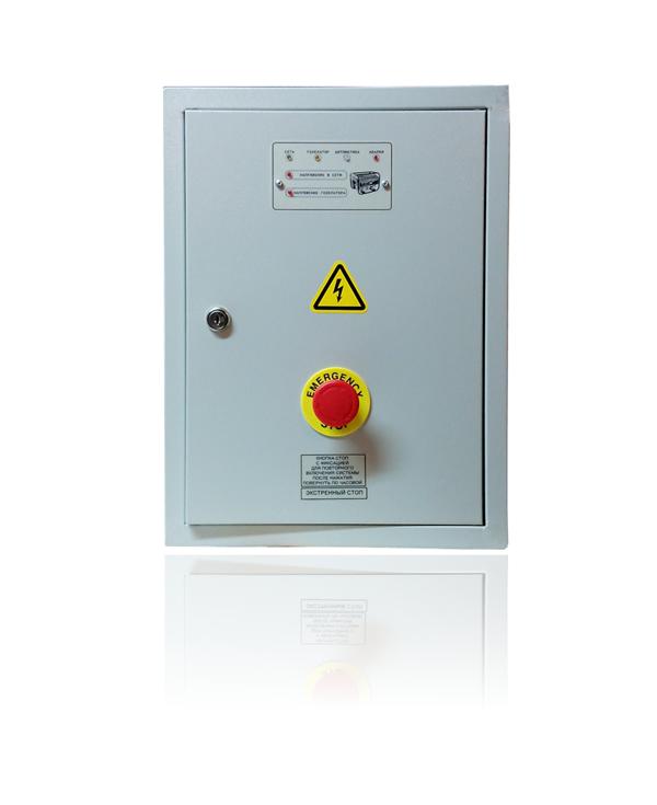 Система автоматического запуска и переключения на трехфазный бензиновый генератор мощностью до 16 квт ЩАПг-3-3-32 АВТО (в комплекте щит АВР с контроллером запуска двигателя генератора, привод заслонки карбюратора, зарядное устройство, плата согласования для установки на генератор, кабель управления 5 метров)