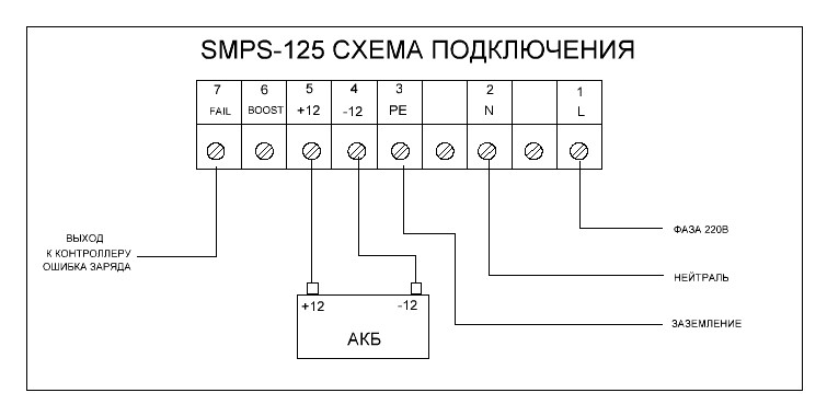 Схема подключения зарядного устройства SMPS-125