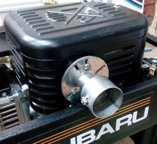 пример установки переходного универсального адаптера выхлопной системы генератора после установки