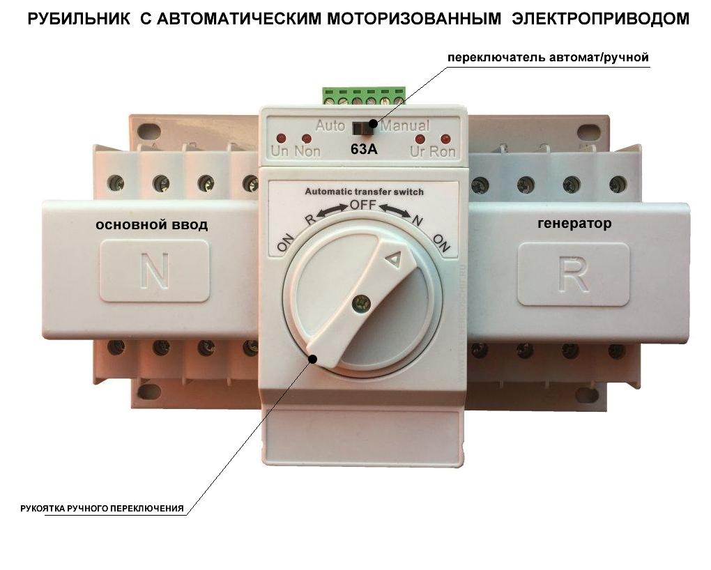 рубильник с моторизованным электроприводом для щитов АВР автоматизация генератора